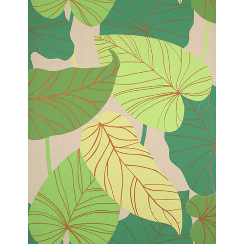 Barbara Becker Raised Surface Banana Leaves Collage Wallpaper: Sample Swatch Only
