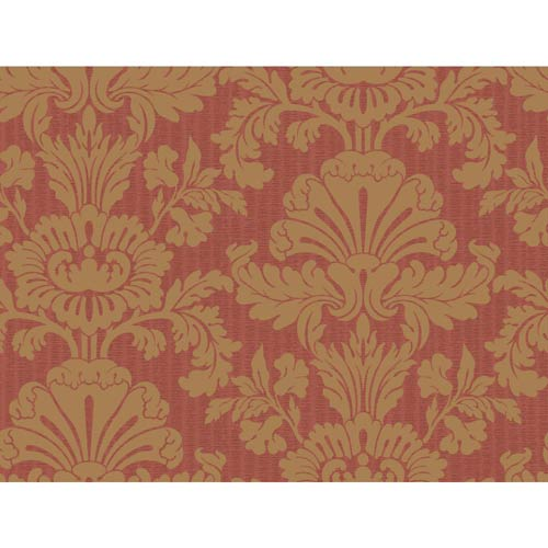 York Wallcoverings Inspired by Color Deep Red and Gold Wallpaper: Sample Swatch Only