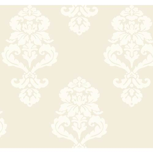 York Wallcoverings Ashford Black, White Beige and Cream Wallpaper: Sample Swatch Only
