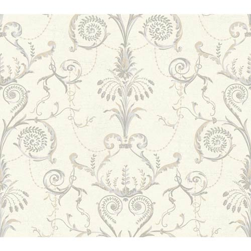 York Wallcoverings Ashford Black, White Cream, Warm Tan, Light and Medium Gray Wallpaper: Sample Swatch Only