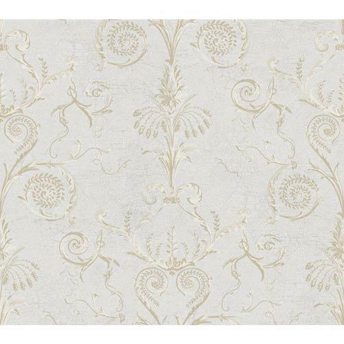 York Wallcoverings Ashford Black, White Light Gray, Cream, Beige and Medium Brown Wallpaper