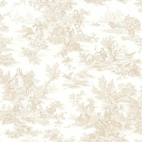 York Wallcoverings Ashford Black, White Cream, Beige and Light Brown Wallpaper: Sample Swatch Only