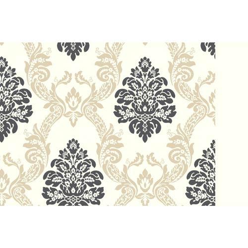 York Wallcoverings Ashford, White Cream, Tan and Black Wallpaper: Sample Swatch Only