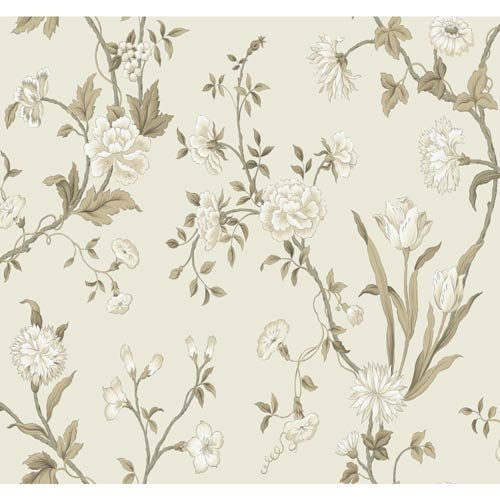 York Wallcoverings Ashford Black, Silver, White, Beige, Tan and Brown Wallpaper: Sample Swatch Only