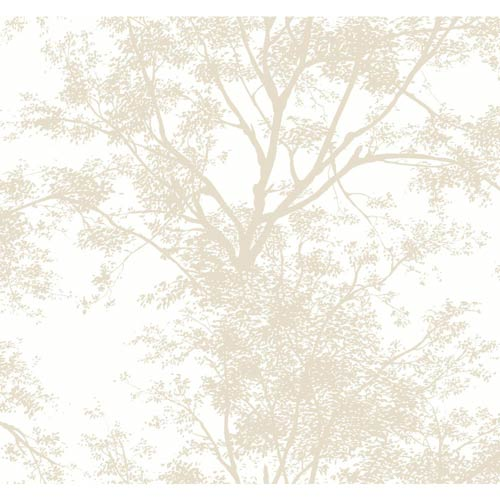 York Wallcoverings Ashford Black, White and Tan Tree Silhouette Wallpaper