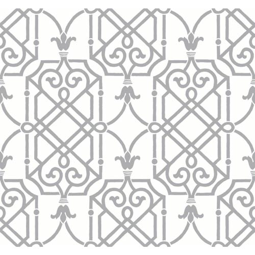 York Wallcoverings Ashford Black, White and Gleaming Silver Wallpaper: Sample Swatch Only