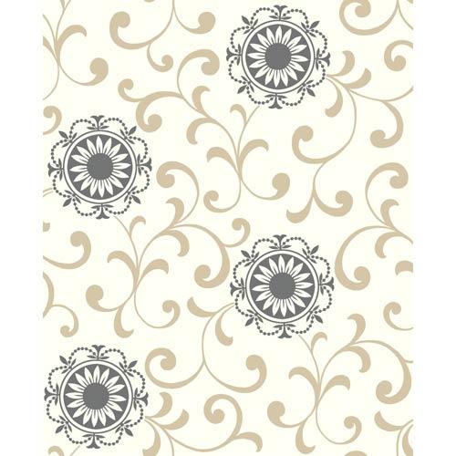 York Wallcoverings Ashford Black, White Ivory, Latte and Ebony Wallpaper: Sample Swatch Only