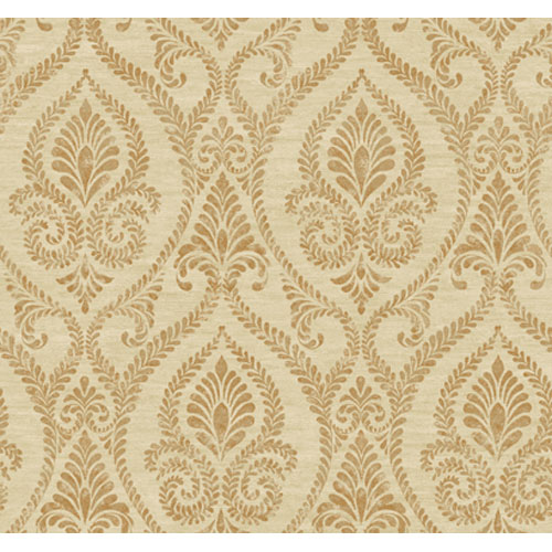 Elegance Sand Beige and Silver Metallic and Copper Metallic Neoclassic Leaf Garland Damask Wallpaper: Sample Swatch Only