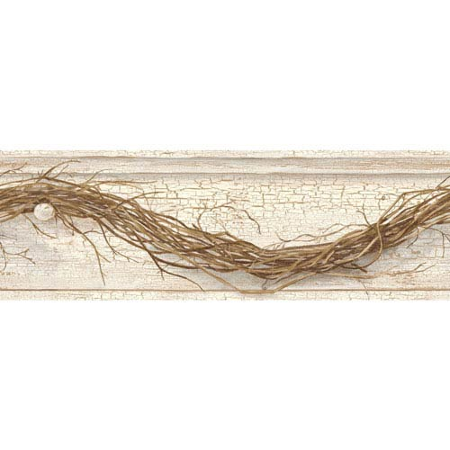Country Keepsakes Cream and Brown Grapevine Twig Border