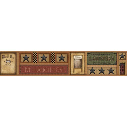 Country Keepsakes Brown and Tan Laundry Star Border