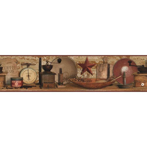 Country Keepsakes Red and Brown Country Coffee Border