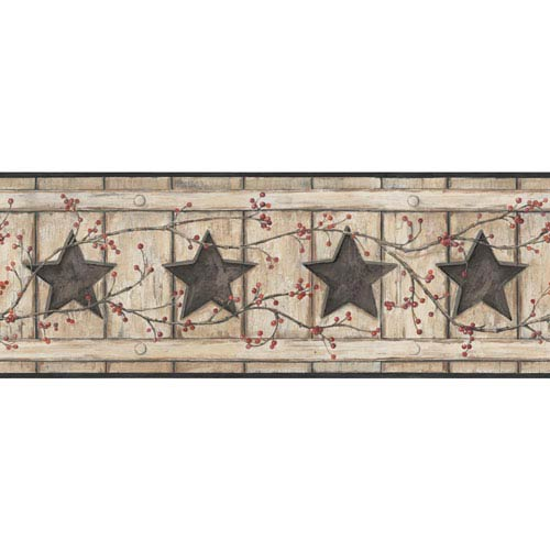Country Keepsakes Beige and Tan Country Cutout Star Border