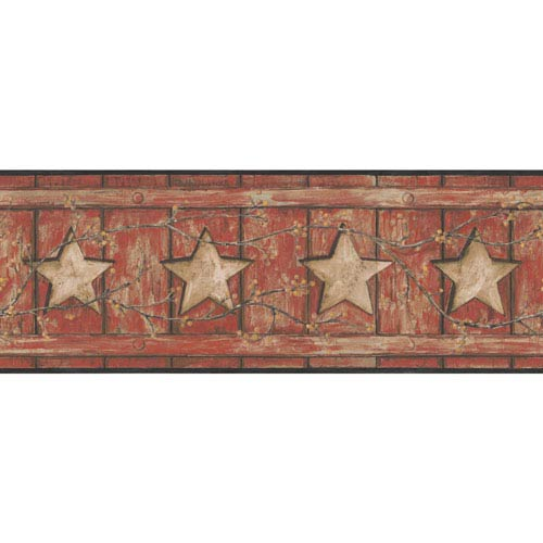 Country Keepsakes Red and Tan Country Cutout Star Border