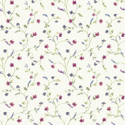Country Keepsakes White and Green Country Floral Trail Wallpaper