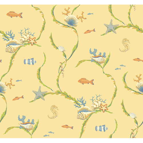 York Wallcoverings By The Sea Sea Life Trail Wallpaper: Sample Swatch Only