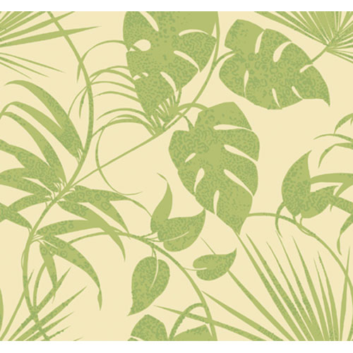 York Wallcoverings By The Sea Tropical Leaf Trail Wallpaper: Sample Swatch Only