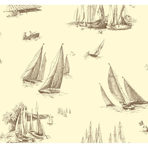 York Wallcoverings By The Sea Sailboat toile Wallpaper: Sample Swatch Only