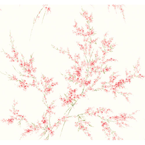 York Wallcoverings Veranda Winter White and Coral and Mid Green Blossom Branches Wallpaper: Sample Swatch Only