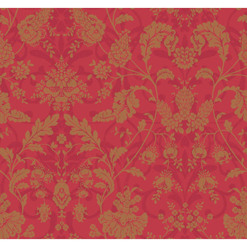 Veranda Deep Honeysuckle Pink and Pearled Gold Floral Damask Wallpaper: Sample Swatch Only