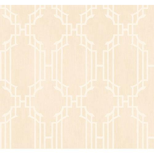 York Wallcoverings Veranda Light Sand and Winter White Lattice Sidewall Wallpaper