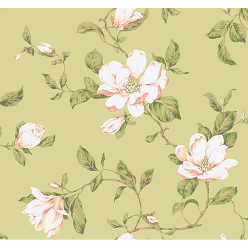 York Wallcoverings Veranda Mint Green and Putty Pink and White Magnolia Vine Wallpaper: Sample Swatch Only