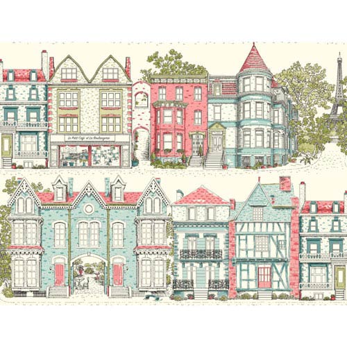 York Wallcoverings Ashford Toiles Brownstone Terrace Removable Wallpaper- Sample Swatch Only