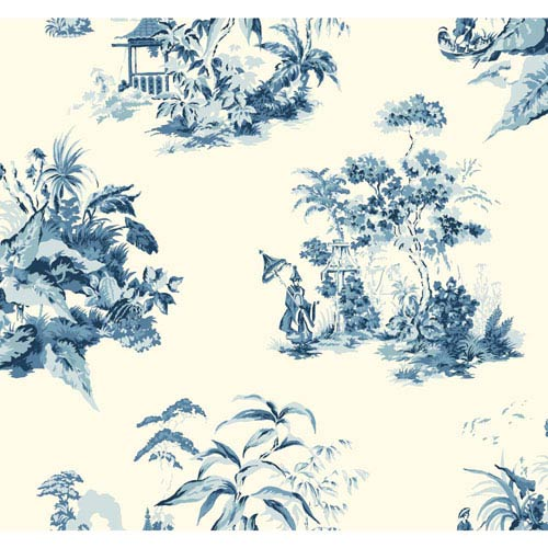 York Wallcoverings Ashford Toiles Oriental Scenic Removable Wallpaper- Sample Swatch Only