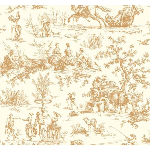York Wallcoverings Ashford Toiles Seasons Toile Removable Wallpaper- Sample Swatch Only