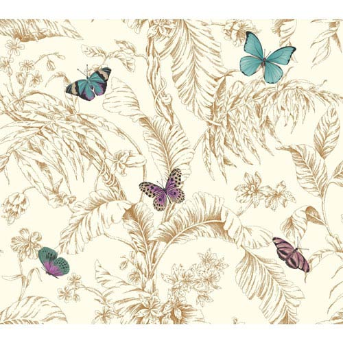York Wallcoverings Ashford Toiles Papillon Removable Wallpaper- Sample Swatch Only