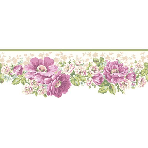 York Wallcoverings Inspired by Color Off White Victorian Garden Border Wallpaper: Sample Swatch Only