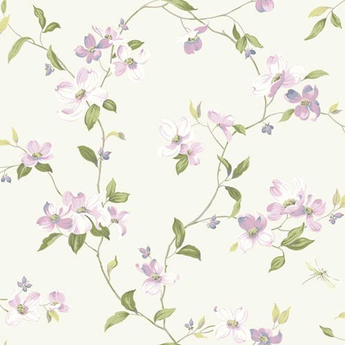 York Wallcoverings Inspired by Color Off White Dogwood Wallpaper: Sample Swatch Only
