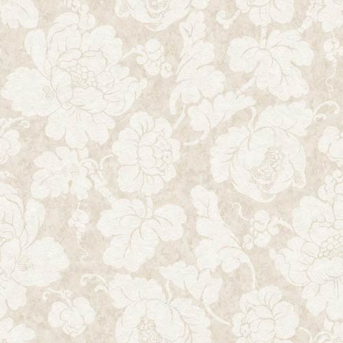 York Wallcoverings American Classics Eggshell, Beige and Pale Taupe Oversized Peony Wallpaper: Sample Swatch Only
