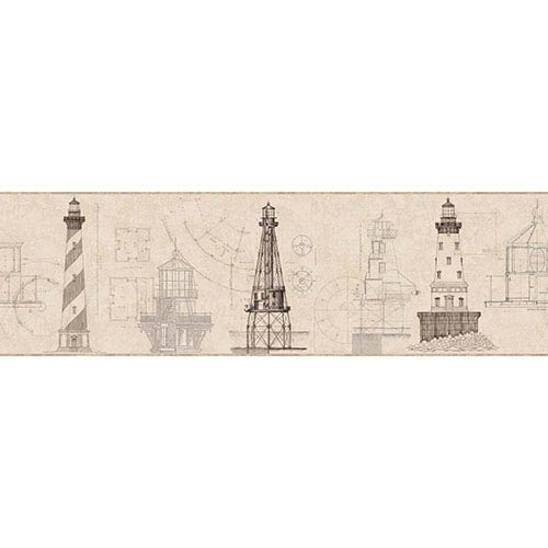 Nautical Living Tan and Grey Architectural Lighthouse Border