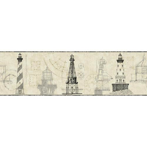 York Wallcoverings American Classics Off White, Ecru, Graphite Grey and Black Wallpaper: Sample Swatch Only