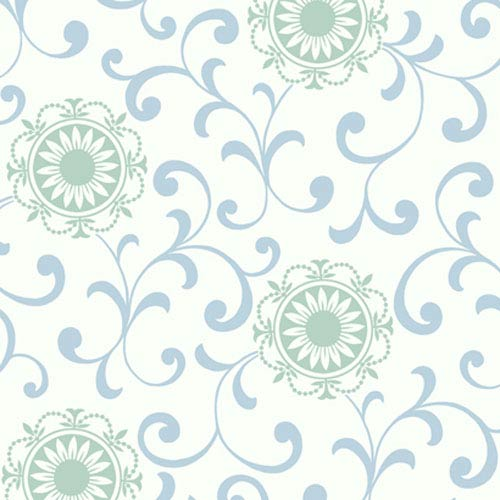 York Wallcoverings Silhouettes Daisy Medallion with Scrolls Wallpaper: Sample Swatch Only