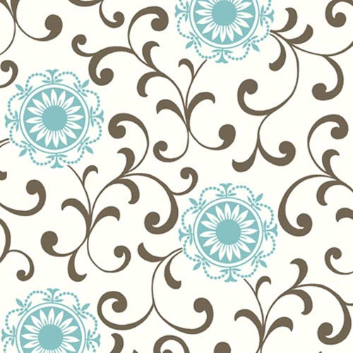 York Wallcoverings Silhouettes Daisy Medallion with Scrolls Wallpaper