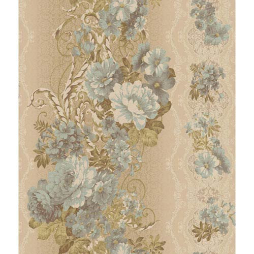 Charleston Metallic Gold Floral Stripe Wallpaper