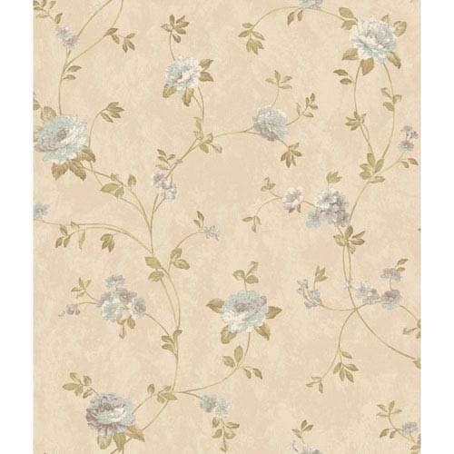 Charleston Beige Satin Floral Vine Wallpaper: Sample Swatch Only