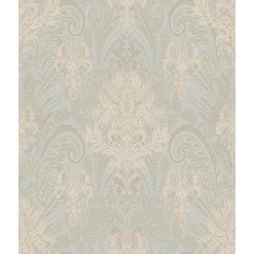 Charleston Pale Aqua and Gold Damask Paisley Wallpaper