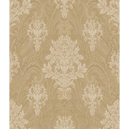 Charleston Gold and Cream Damask Paisley Wallpaper
