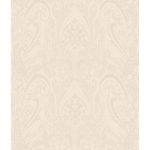 Charleston Cream Paisley Texture Wallpaper: Sample Swatch Only