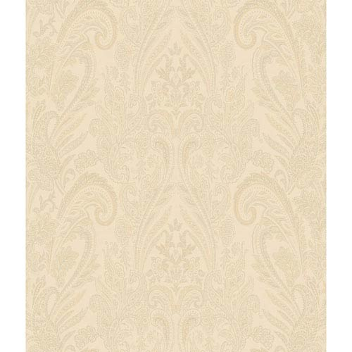 Charleston Beige Paisley Texture Wallpaper: Sample Swatch Only