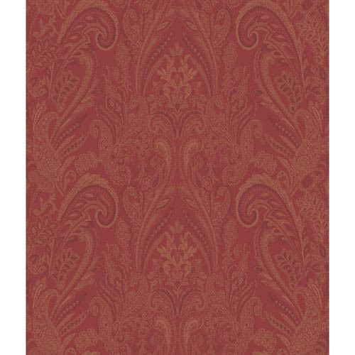 Charleston Red and Gold Paisley Texture Wallpaper