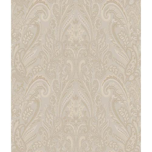 Charleston Beige and Gold Paisley Texture Wallpaper