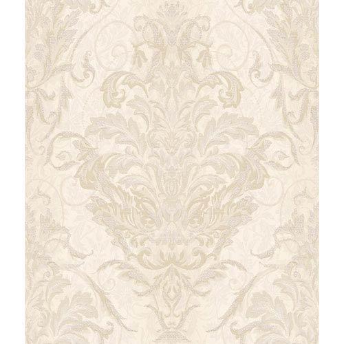 Charleston Pearl Cream and Tan Ombre Damask Stripe Wallpaper