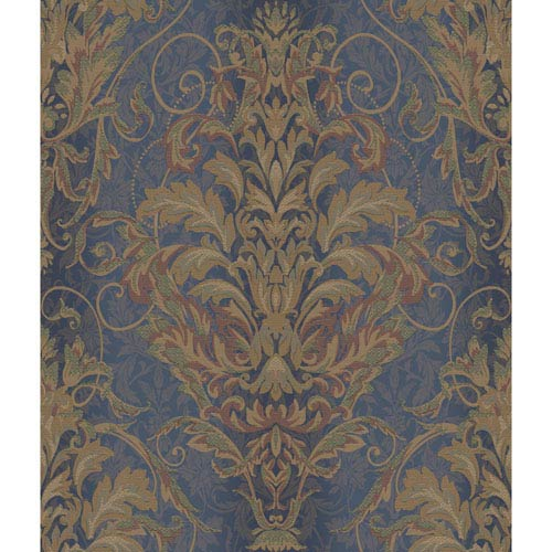 Charleston Dark Blue Satin and Gold Ombre Damask Stripe Wallpaper