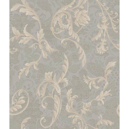 York Wallcoverings Charleston Grey And Tan Acanthus Wallpaper Ar7764