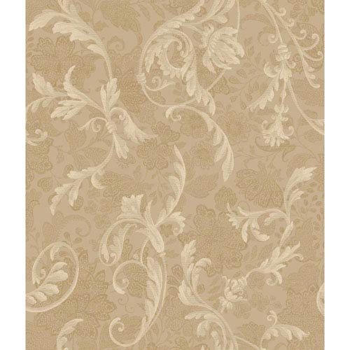 Charleston Tan and Gold Acanthus Wallpaper