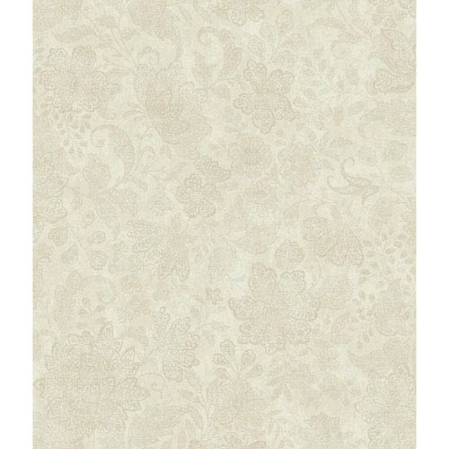Charleston Cream and Beige Brushstroke Canvas Wallpaper: Sample Swatch Only