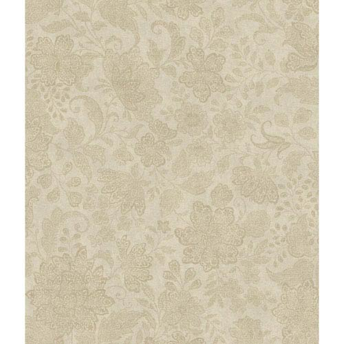 Charleston Gold and Grey Brushstroke Canvas Wallpaper